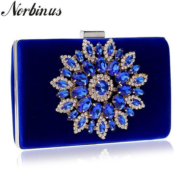5c1b1a888 Norbinus Bolsas de Strass Mulheres Cristal Azul Da Flor do Ouro Cadeia  Sacos Ombro Das Senhoras Embreagens Dia Bolsa Carteira Casamento Eveing