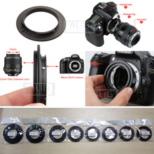 Di alluminio Della Macchina Fotografica Obiettivo Macro Reverse Anello Adattatore per Nikon ai 49mm 52mm 55mm 58mm 62mm 67mm 72mm 77mm Filo di Montaggio