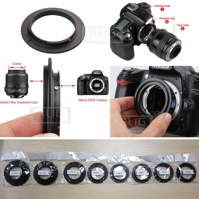 อลูมิเนียมกล้องเลนส์ Macro Reverse Adapter สำหรับ Nikon AI ถึง 49 มิลลิเมตร 52 มิลลิเมตร 55 มิลลิเมตร 58 มิลลิเมตร 62 มิลลิเมตร 67 มิลลิเมตร 72 มิลลิเมตร 77 มิลลิเมตรด้าย