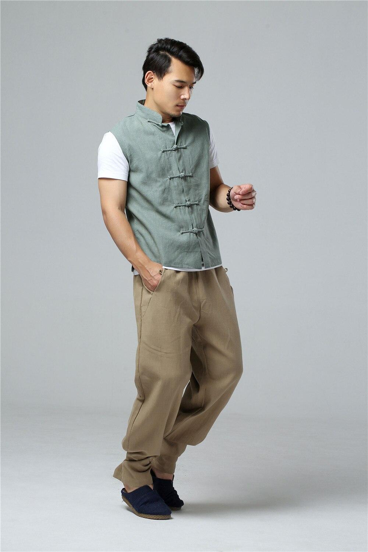 LZJN 2019 Men's Summer Waistcoat Chinese Style Vintage Breathable Linen Button Down Kung Fu Shirt Sleeveless Vest Jacket  (27)
