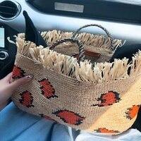 Leopard Round Straw Beach Bag Vintage Handmade Woven Shoulder Bag Raffia Circle Rattan Bags Bohemian Summer Vacation Casual bag