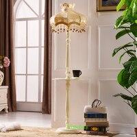 European Lace Solid Wood Floor Lamps Bedroom Tea Table Lamp Creative Living Room Floor Lamp Modern led Floor Light Wood Lights