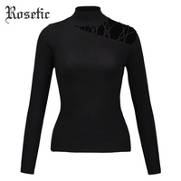 Rosetic Casual Sweater Women Spring Black Slim Hollow Turtleneck Lace Up Tops Pullover Fashion Wild Street