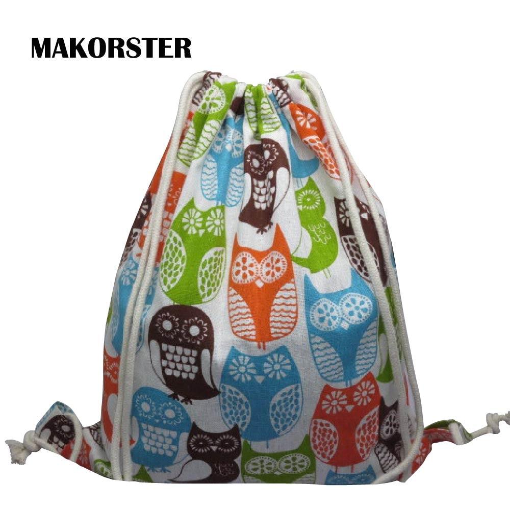 все цены на MAKORSTER Owl women backpacks printing backpack mochila rucksack fashion Animal Prints canvas bags cheap retro travel bag MK251 онлайн