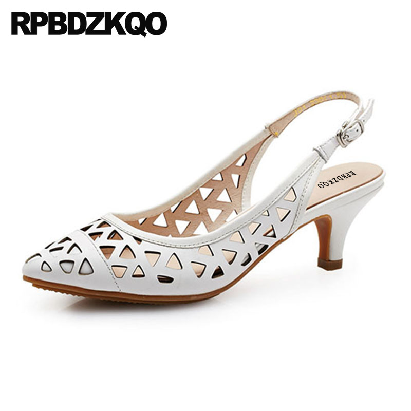 Pointed Closed Toe Cage White Designer Sandals Women Luxury 2018 Pumps Shoes Stiletto High Heels Strap Slingback Genuine Leather women office shoes solid color fashion pointed toe stiletto high heels elastic band ankle strap slingback sandals pumps leather