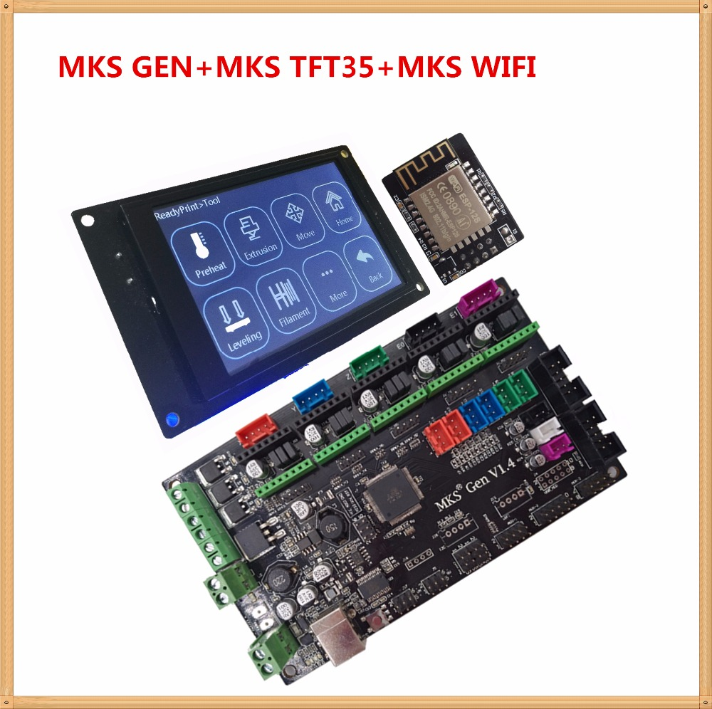MKS GEN V1.4 control board MKS TFT35 touch screen MKS WIFI module controller suite TFT 35 3D printing unit diy beginer kit 3d printing wireless router hlk rm04 wifi module mks hlkwifi v1 1 remote control for mks tft touch screen high stability