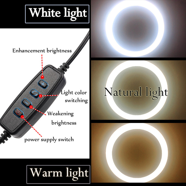 10inch 26cm USB Interface Dimmable LED Selfie Ring Light Camera Phone Photography Video Makeup Lamp With Tripod Phone Clip 4