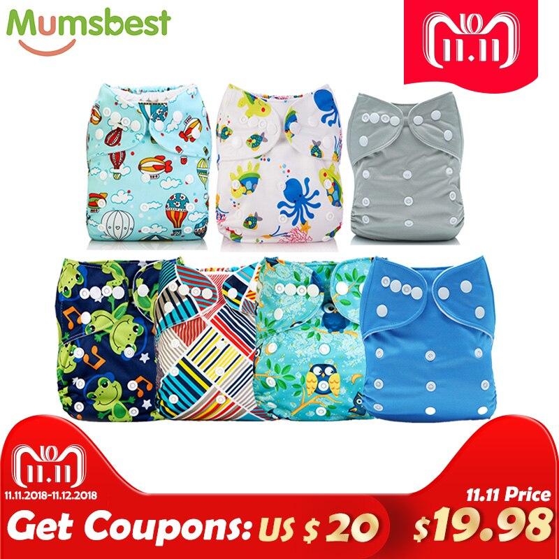 [Mumsbest]Big Promotion 7pcs/Lot Wholesale 11.11 Blue Baby Unisex Cloth Diaper One Size Pocket Nappies big promotion 100
