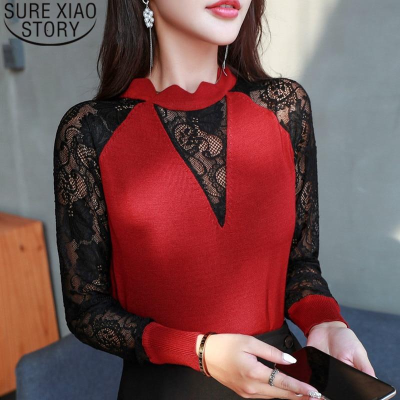 blusas mujer de moda 2019 womens tops   blouses   sexy hollow lace   blouse     shirt   women clothing long sleeve women   shirts   1831 50