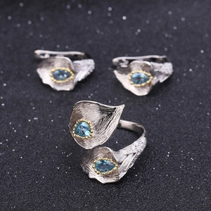 Image 2 - GEMS בלט 3.02Ct טבעי שוויצרי טופז הכחולה 925 סטרלינג כסף בעבודת יד Callalily עלה טבעת עגילי תכשיטי סטים לנשים
