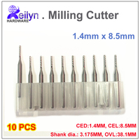 Carbide End Mill 10pcs 1 4x8 5x3 175mm PCB Milling Cutter CNC Cutter Mini Drill Bit
