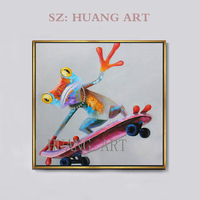 funny scooter Animal frog Room Decoration Children's room Painting for living room Oil Painting picture design famous handmade