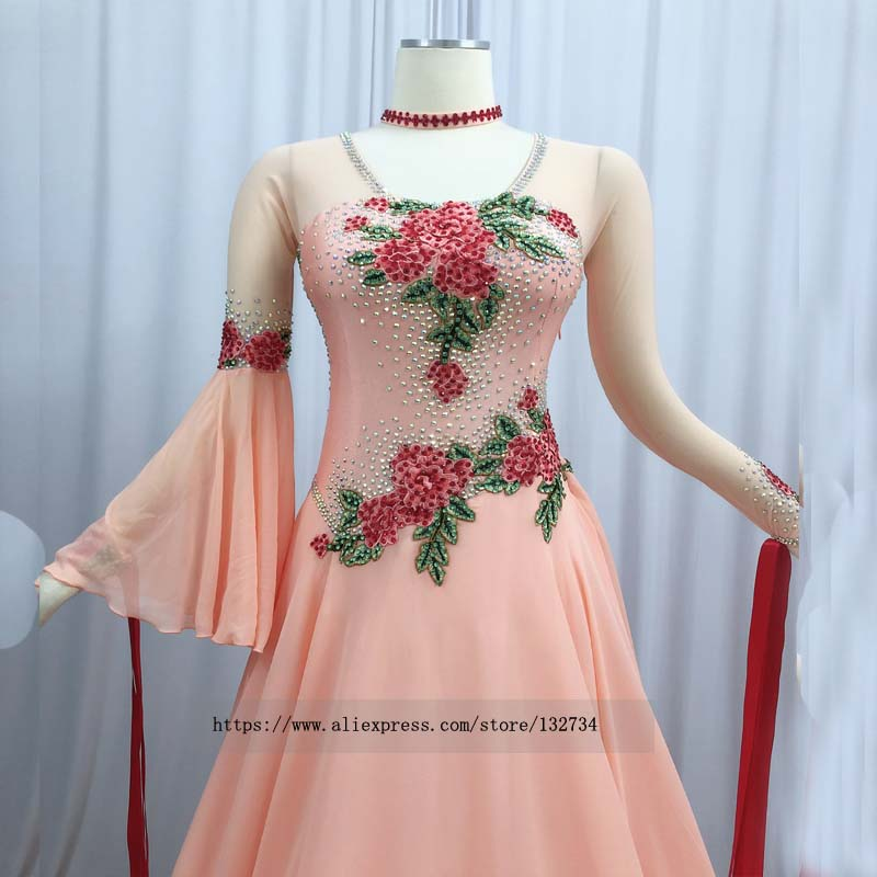 Image 3 - 2019 long sleeve Ballroom Dance Competition Dress With bodysuit bra cups Stret Red motif Professional dance competition dressBallroom   -