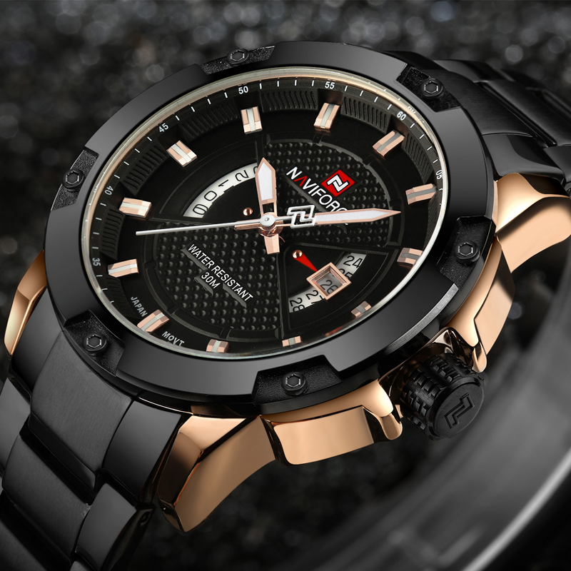 Mens Watches Top Luxury Brand NAVIFORCE Men Full Steel Watchs