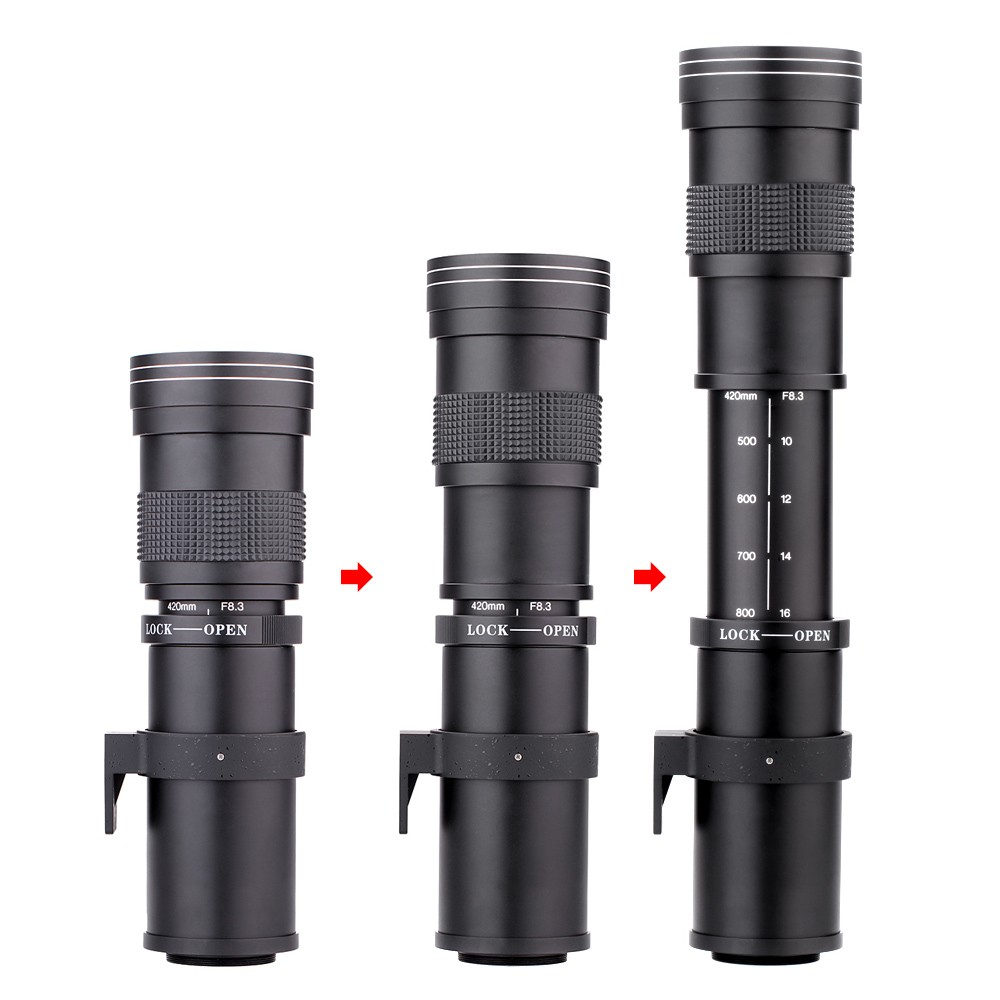 Lightdow 4-800mm F/8.3-16 Super Telephoto Lens Manual Zoom Lens for Canon Nikon Sony Pentax DSLR Camera 8