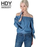 Hdy haoduoyi כתף נשים כבויה סלאש סקסי צוואר מוצק חולצות חולצות חולצות tees ארוך שרוול יסוד עבור סיטונאי