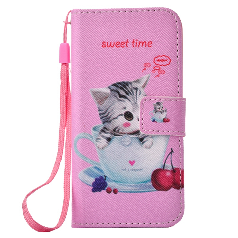 sFor Coque iPhone 5S Case Cute Cat Owl Panda Bear Leather Flip Wallet Phone Cases For
