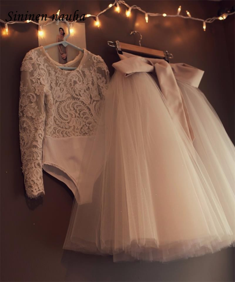 Flower Girl Dresses For Weddings First Communion Dresses For Girls Long Sleeves 2 Piece Lace Appliques Girls Pageant Dresses 104