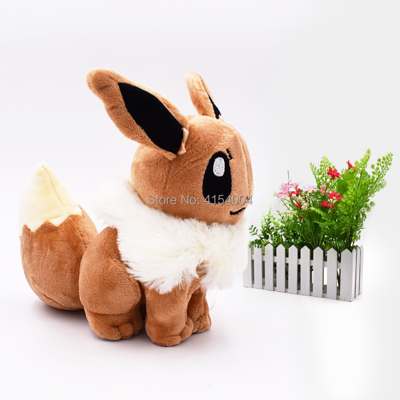 10 pcs lot Anime Doll Sitting Eevee Japanese Animal Stuffed Plush Quality Cartoon Toys 18 cm Christmas Gift in Movies TV from Toys Hobbies