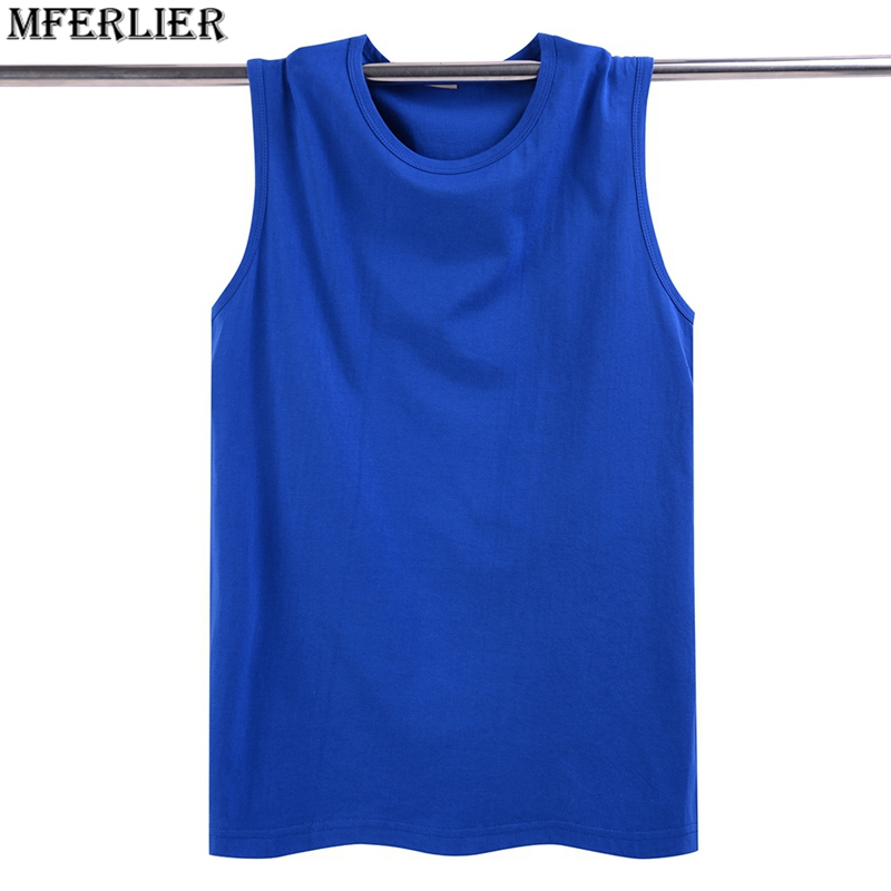 MFERLIER summer Fitness Sweatshirt loose Men   tank     tops   cheap solid cotton plus big size 5XL   tops   tees sleeveless blue
