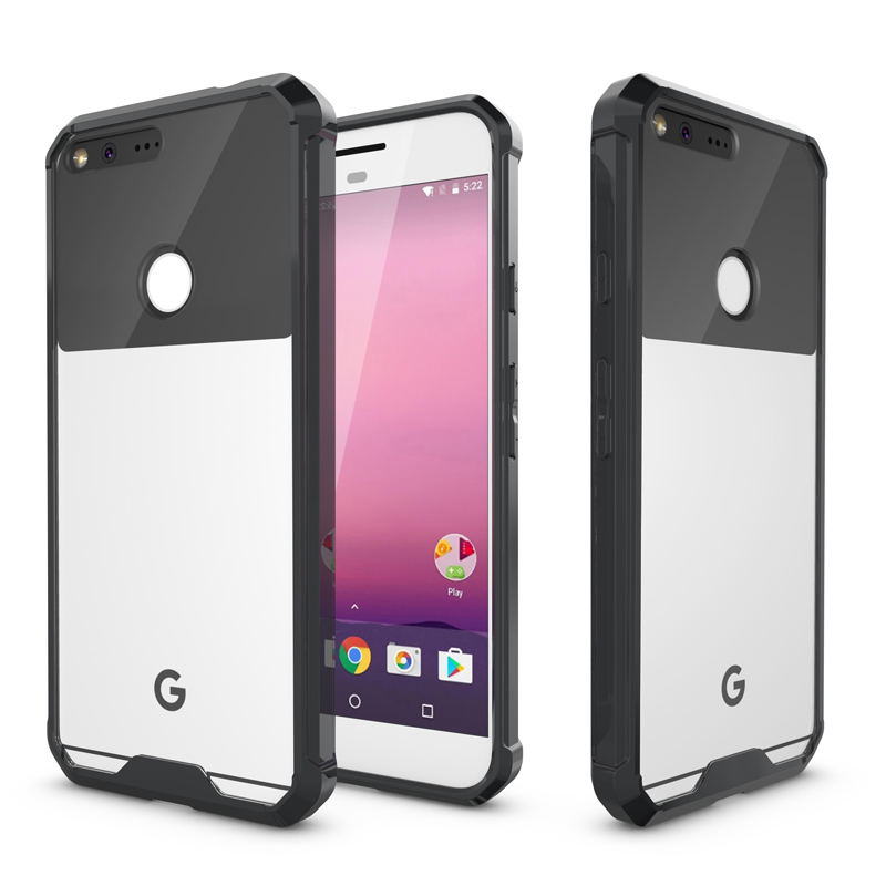 For Google Pixel Clear Armour Anti-Knock Transparent Black Case Cover For Google Pixel XL Cases