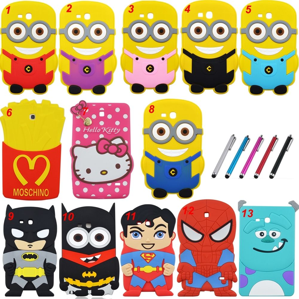 Cartoon Superher Batman and Minions Rubber Silicone Cover Shockproof Case For Samsung Galaxy Tab 3 Lite 7 SM-T110 T116 table PC pannovo silicone shockproof fallproof dustproof case for samsung galaxy note 3 camouflage green