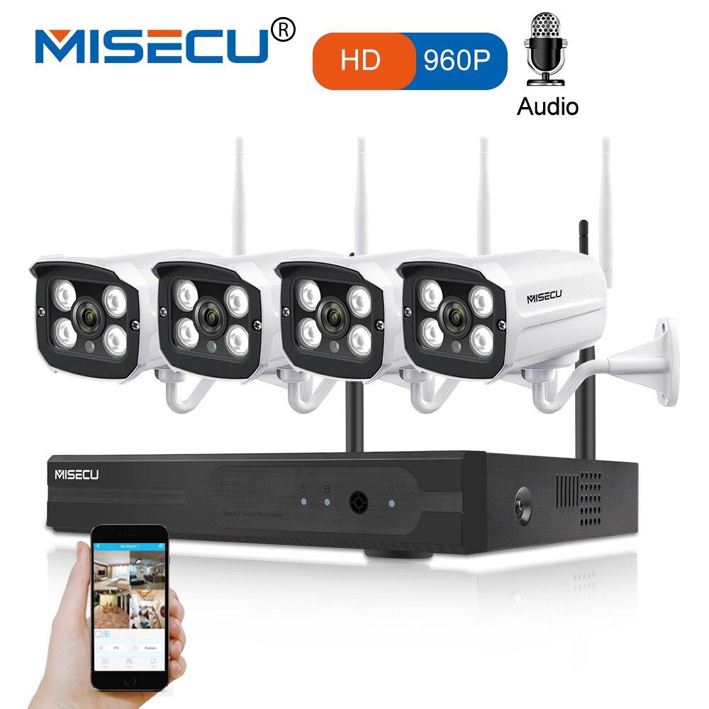 MISECU 4CH WIFI NVR Sistema Plug Gioca Kit 960P1080P VGA HDMI 1.3MP Senza Fili del IP Della Macchina Fotografica Audio Suono P2P Impermeabile CCTV seurity