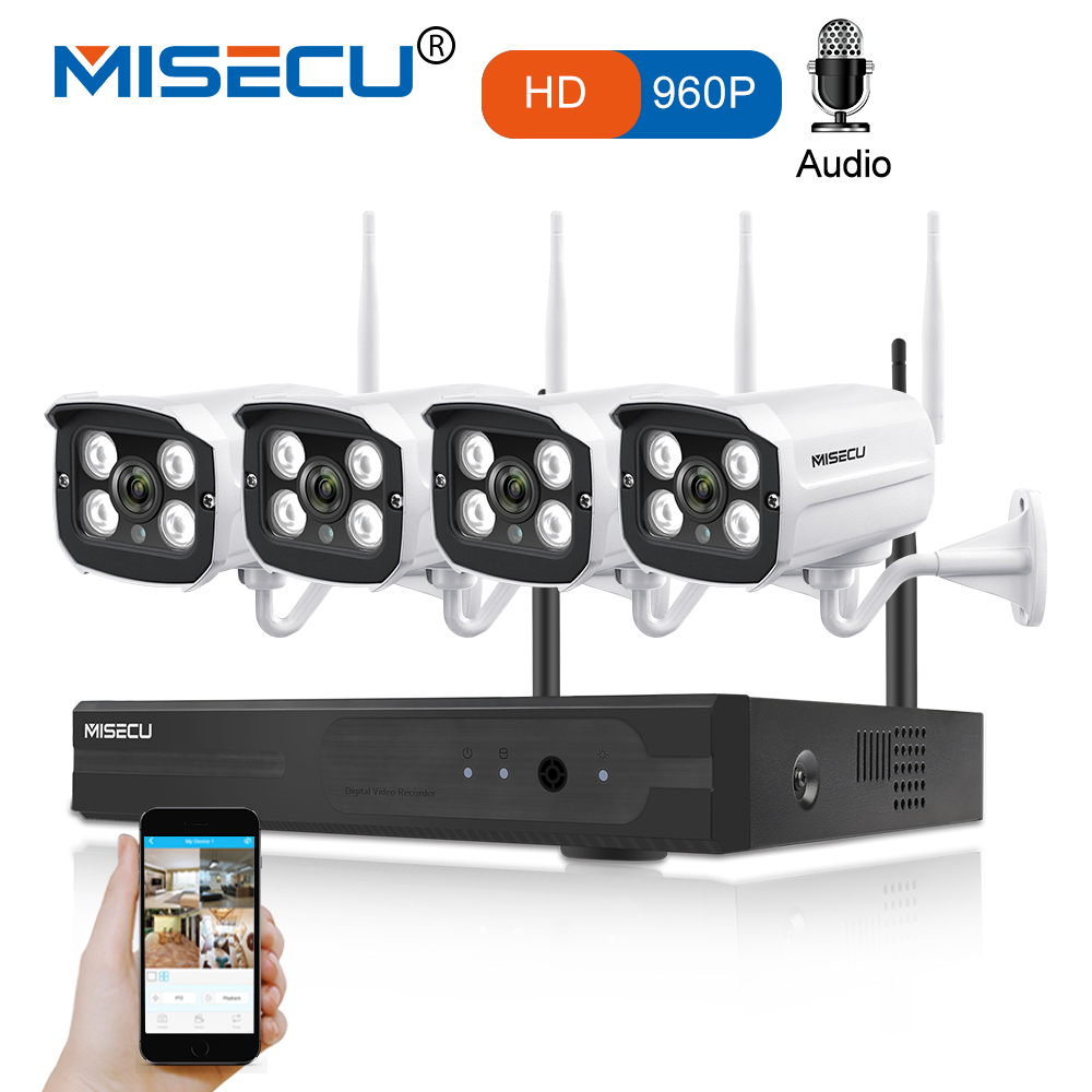 MISECU 4CH WIFI NVR System Plug Play Kit 960P1080P VGA HDMI 1.3MP Wireless IP Camera Audio Sound P2P Waterproof CCTV Seurity misecu easy installation plug play 2 4g wifi kit 720p 1080p vga hdmi 4ch nvr wireless p2p 720p wifi ip camera waterproof cctv