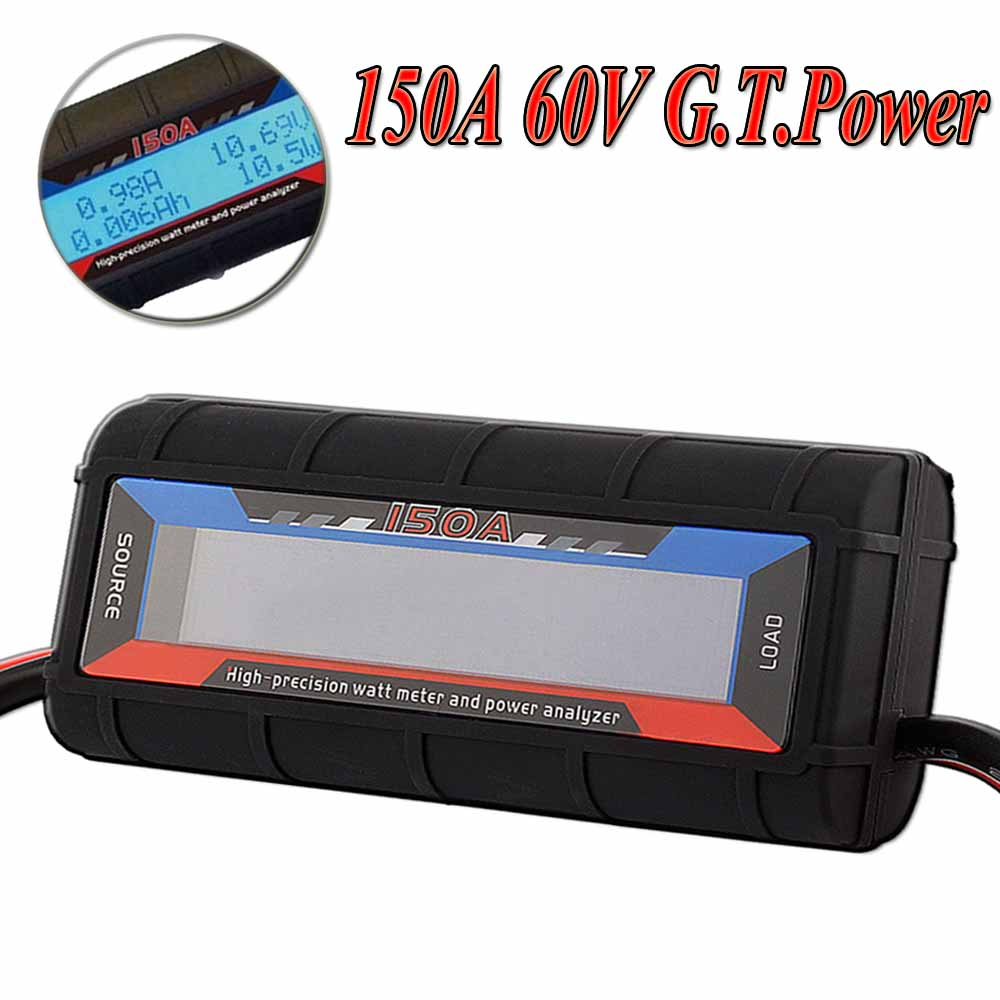 G.T.Power 130A 150A RC Watt Meter Power Analyzer Digital LCD Tester 12v 24v 36v High Precision hp9800 pc usb port 4500w 85v 110v 220v 265v ac 20a electric power energy monitor tester watt meter analyzer with socket output