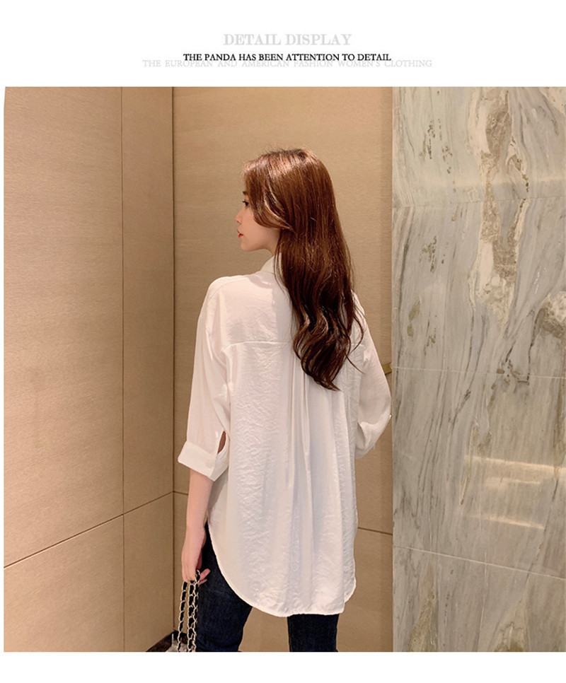 2019 Summer New Korean Version Of The Wild Long Paragraph 7 Points Sleeves Waist Loose Thin Temperament White Shirt Women (5)