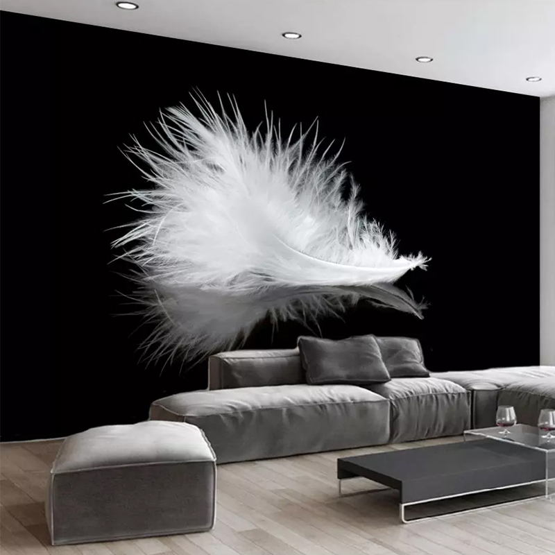 Photo Wallpaper Modern Simple Black And White Feather Murals Living Room Dining Room Creative Art Wall Painting Papel De Parede