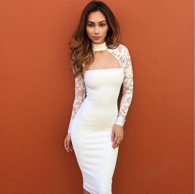 a505f7d8fba Hiver Automne Femmes Parti Dentelle À Manches Longues Robe sexy clubwear col  roulé robes Noir Blanc