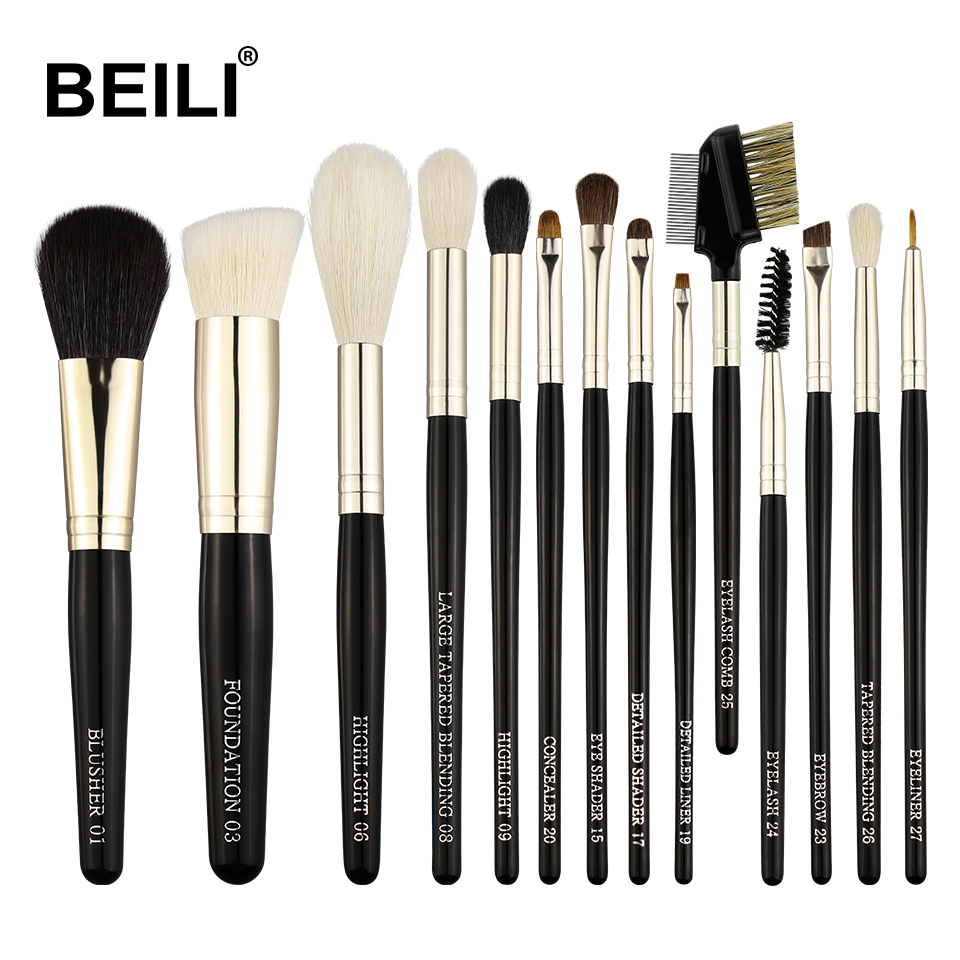 BEILI 14pcs Natural Goat Pony Weasel Hair Eye shadow Blending Highlight Powder Daily Makeup Brushes Set beili 234 natural goat hair pink smoky shade single eye shadow definer makeup brushes