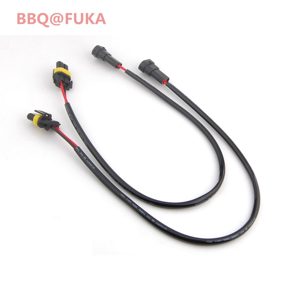 BBQ@FUKA 2pcs H11 H8 to 9006 Conversion Headlight Fog Lamp Wire Harness Adapter Socket Cable Fit For Cooper Clubman Car-Styling for opel astra h gtc 2005 15 h11 wiring harness sockets wire connector switch 2 fog lights drl front bumper 5d lens led lamp