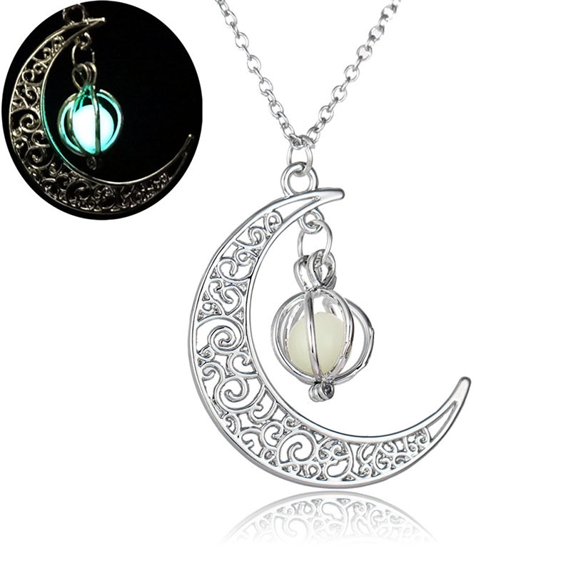 FUNNYBUNNY Luminous Series Moon Love Heart Pendant Necklace Fluorescent Necklace,Glow in the Dark Party favors
