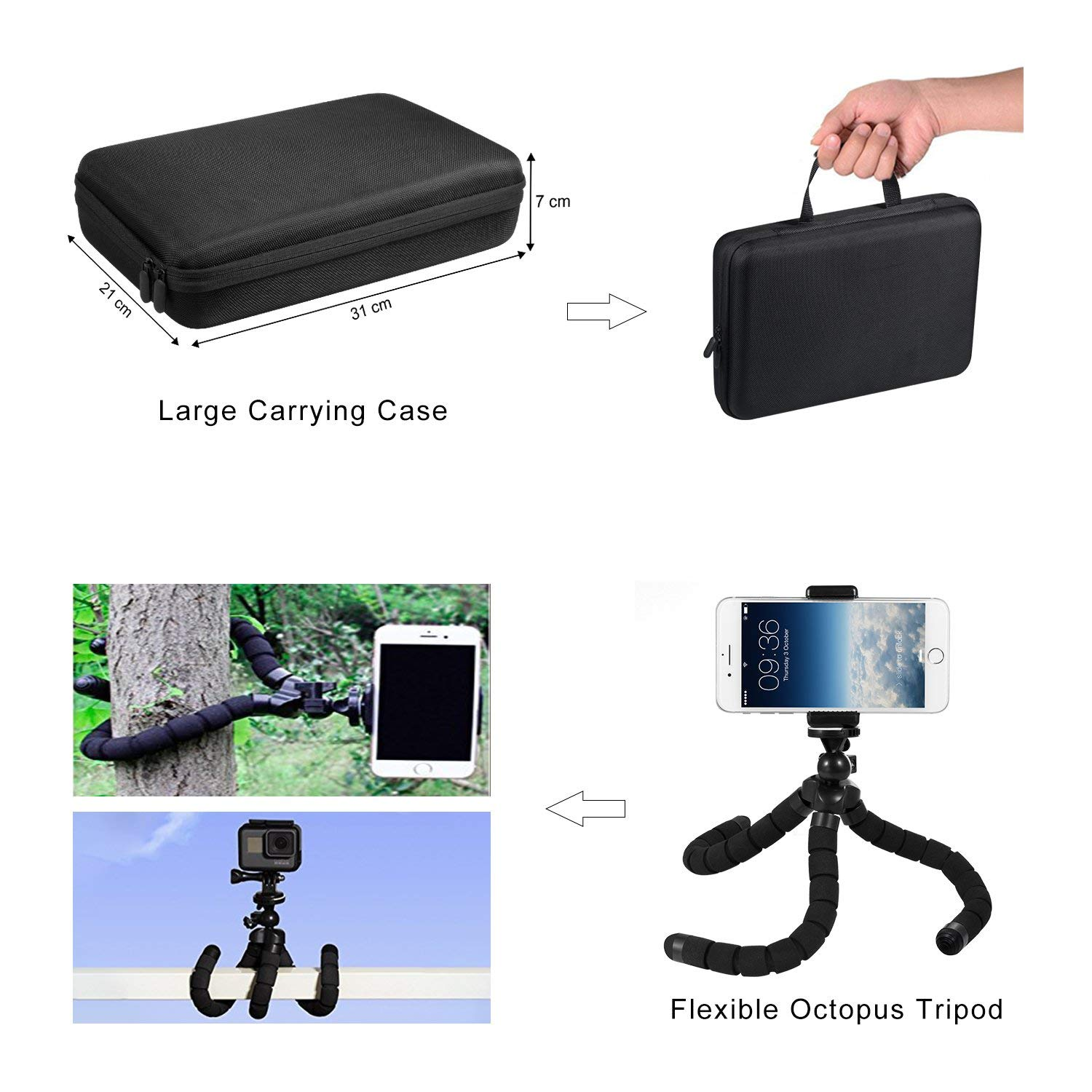 Flexible Pivoting Head Hand Tools Wrenches Rail Guide Adapter with Screw Accessories Set for GoPro Fusion 360 Degree Camera Black
