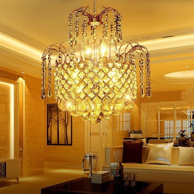 european fashion round gold crystal pendant lights restaurant light rh aliexpress com ceiling lights for small dining room ceiling lights for small dining room