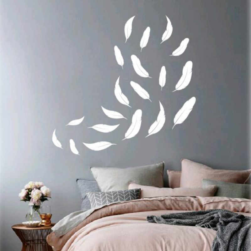 DIY White Feather Pattern Wall Sticker Bedroom Wall Decorations Party Decor For Any Shape 18101808