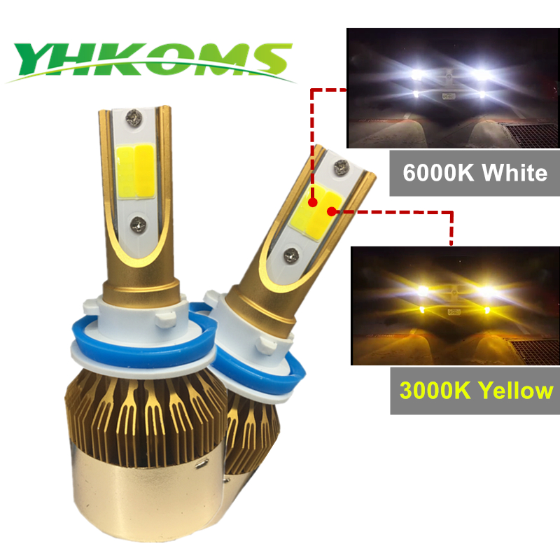 YHKOMS H7 H11 LED Phare De Voiture 9005 HB3 9006 HB4 H8 9012 H1 H3 880 881 H27 H4 LED Double couleur Phare Kit 3000 k 6000 k 9600LM