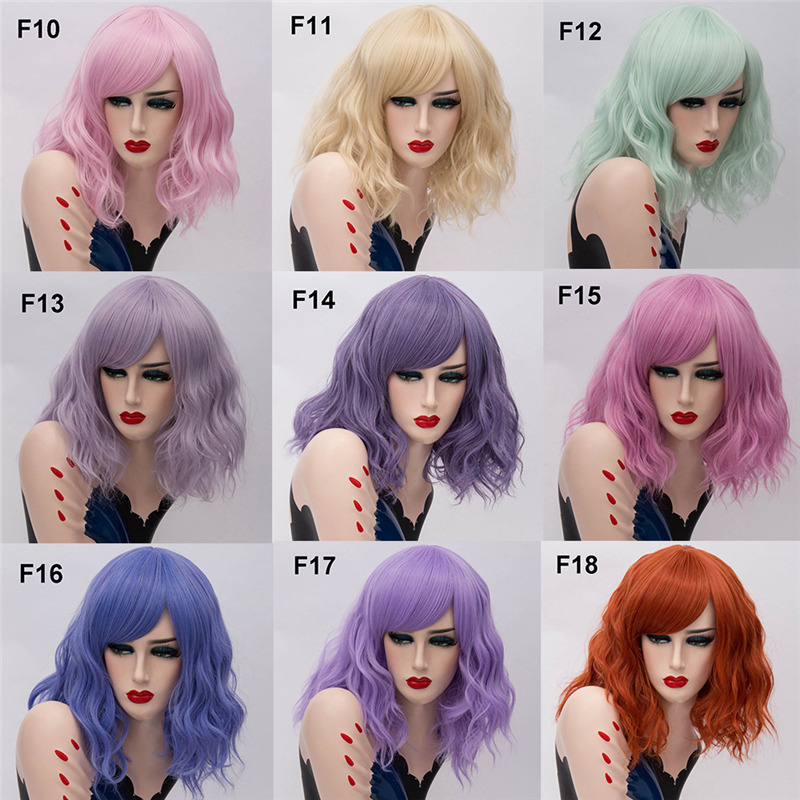 Image 4 - MSIWIGS Two Tones Short Cosplay Wigs for Women Pink White Wavy Ombre Wig with Bangs Purple Ombre Natural Synthetic Hair Wigs-in Synthetic None-Lace  Wigs from Hair Extensions & Wigs