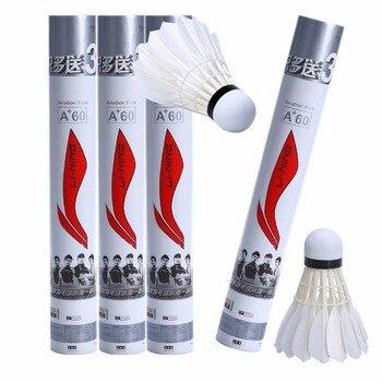 Nuovo 15 pz Professionale Badminton Palle A60E Bianco Formazione Piuma D'oca di Badminton Palla Volani Con Tubo Palle Accessori