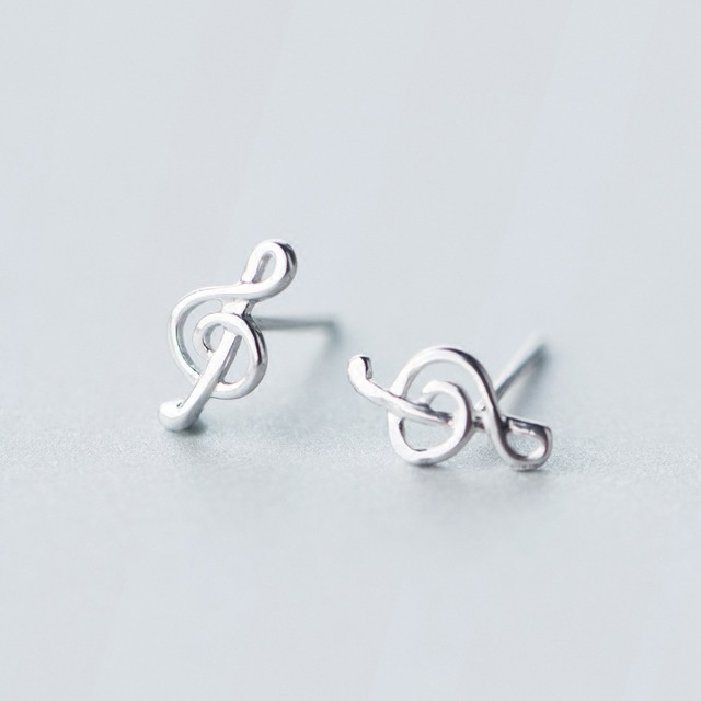 Women S Small Earrings Authentic 925 Sterling Silver Jewelry Music Musical Notes Treble Clef