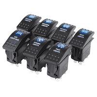 Wholesales item 7PCS 12V 20A Bar 5 Pin Rocker Toggle Switch Blue LED Light Car Boat
