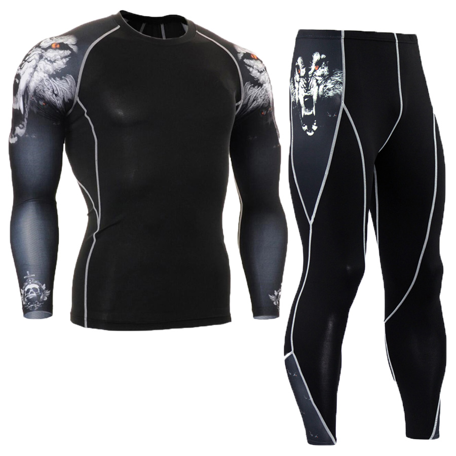 Men/'s Compression Set Workout Sports Fitness Tights Long Pants Fashion Printed