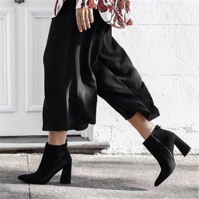 Feminina Femmes Cravate As Picture Automne Bottes Haut En Cuir Talon Picture Mujer Botas Suede Mode Cheville Hiver as Gladiateur Pompes Femme Chaussures De FqxCU
