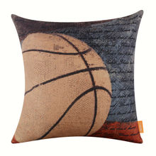LINKWELL Brand Retro Pillow Case Burlap Cushion Cover 18×18 inch Vintage Sports Game Basketball Fans American USA Style Man Cave