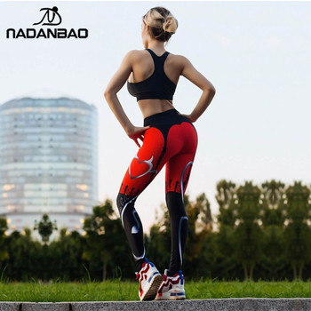 NADANBAO 2019 Women Leggigns Heart Shape Digital Print Patchwork Fitness Legging Push Up Workout Plus Size Leggins Pants 1