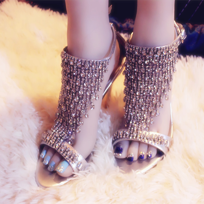 New Arrivals Luxury Fringe High Heel Sandals Crystals Peep Toe Thin Heels Shoes Buckle Straps Women Sandal Summer Party Shoes