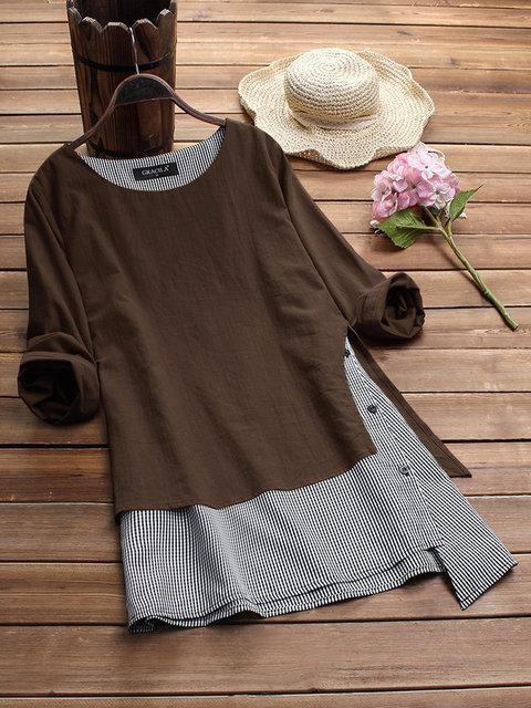 Ladies Boho Style Dress Fake Two-piece Stitching Irregular Long Sleeved Dress Cotton and Linen Plus Size Women
