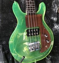 Good quality Acrylic electric guitar green color Dan style rosewood pickguard Fix bridge crystal electric bass guitar стоимость